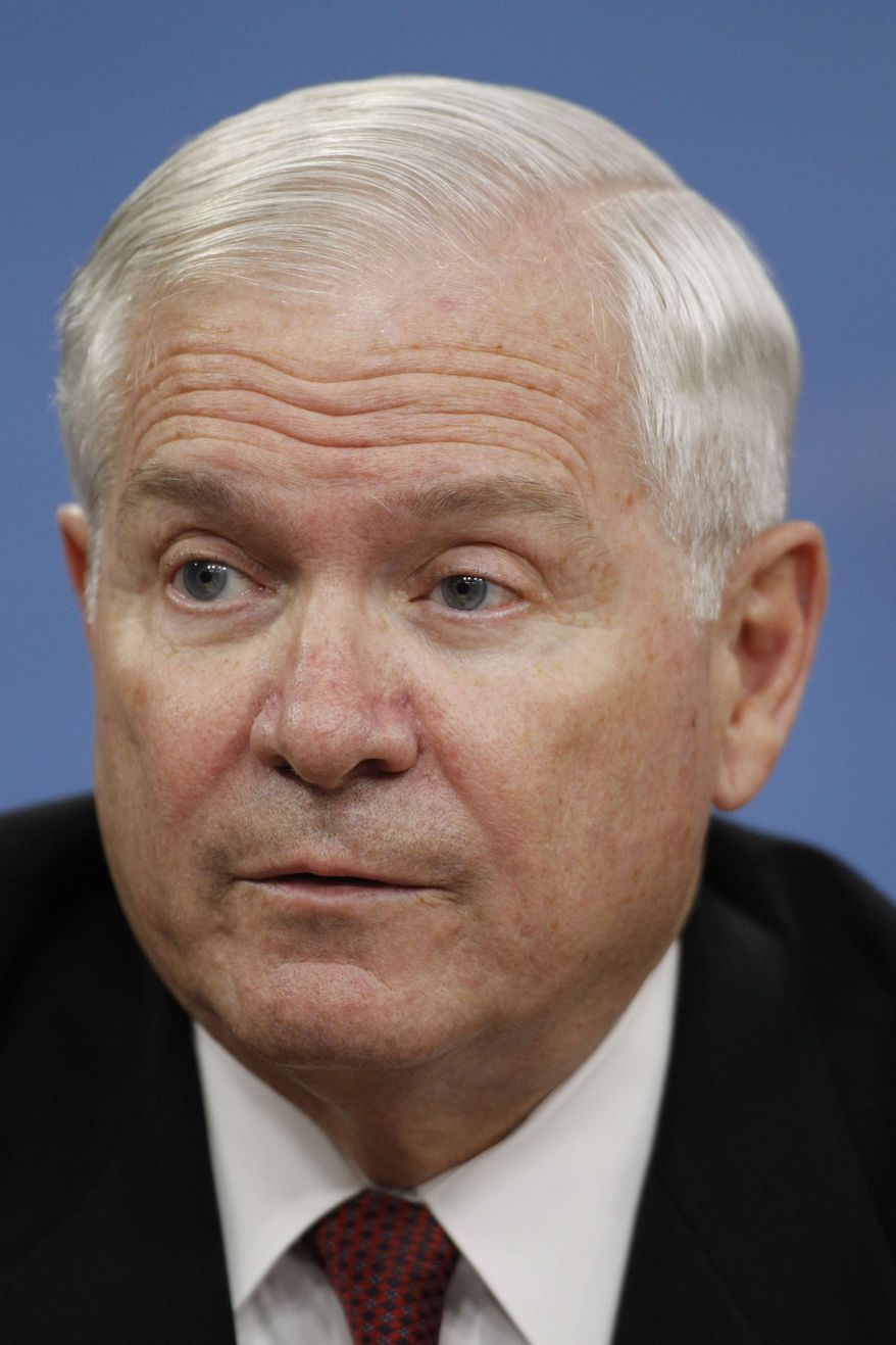 ** FILE ** In a Thursday, June 16, 2011, file photo, Secretary of Defense Robert Gates speaks during a media availability at the Pentagon in Washington. The College of William and Mary has named former U.S. Defense Secretary Gates as its next chancellor. (AP Photo/Alex Brandon, File)