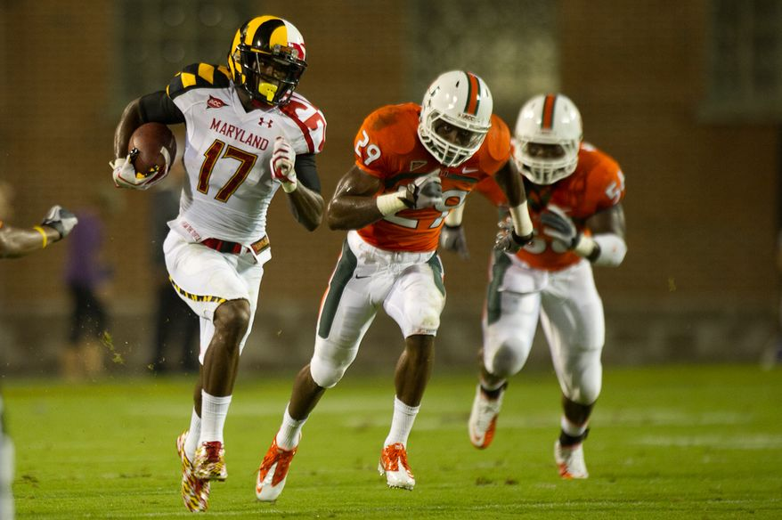 Wide receiver Quintin McCree (#17) of the Maryland Terrapins breaks a runs against the Miami Hurricanes in Byrd Stadium at the University of Maryland, on Monday September 5, 2011. (Andrew Harnik / The Washington Times)