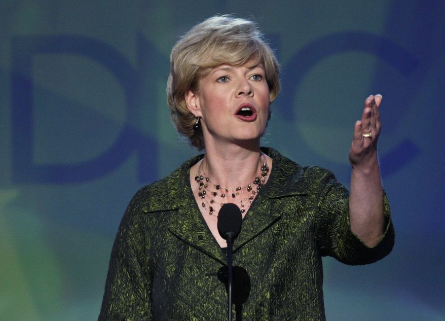 ** FILE ** Rep. Tammy Baldwin, Wisconsin Democrat, speaks at the Democratic National Convention in Denver in August 2008. (AP Photo/Ron Edmonds, File)