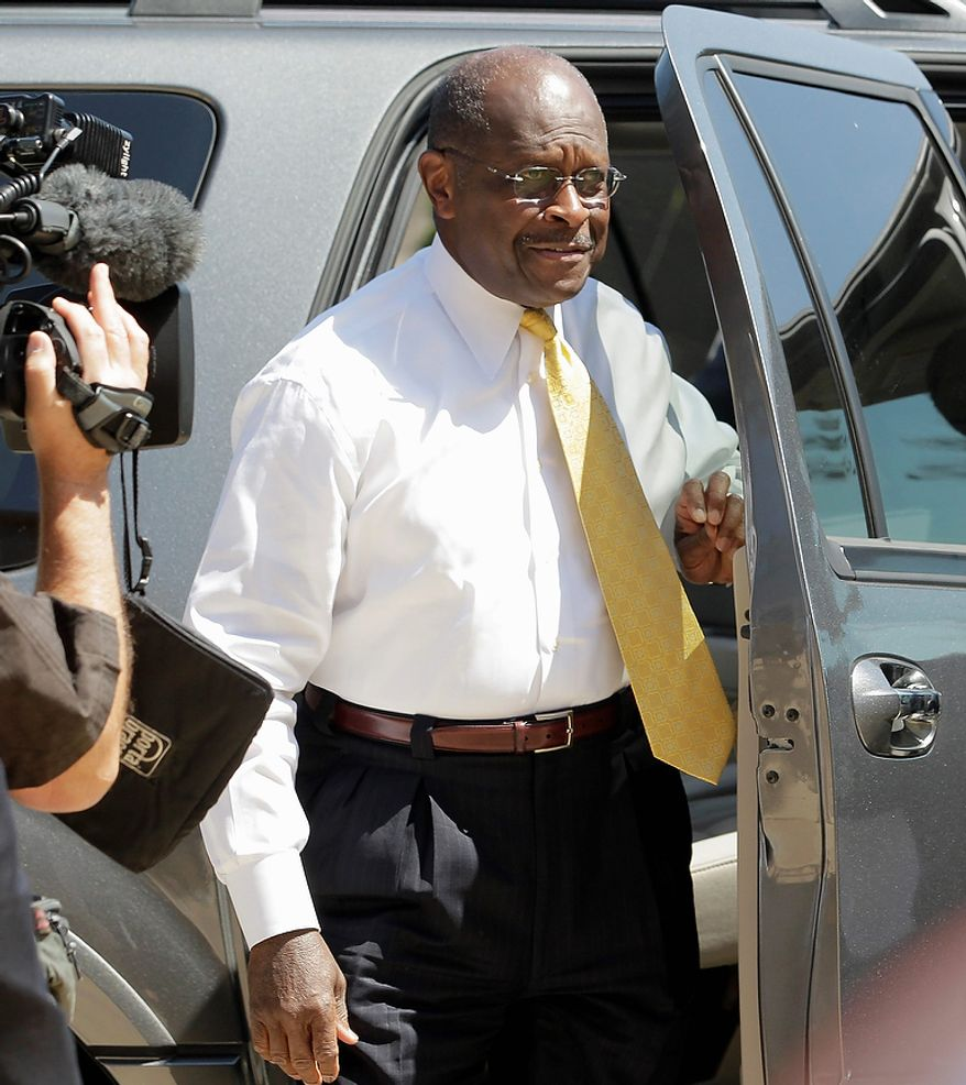 Republican presidential candidate businessman Herman Cain arrives at the Reagan Library for a Republican presidential candidate debate Wednesday, Sept. 7, 2011, in Simi Valley, Calif.  (AP Photo/Jae C. Hong)