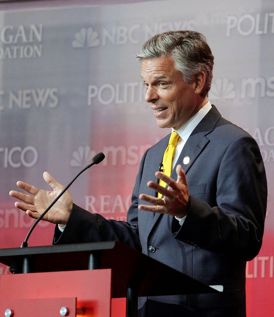 Republican presidential candidate former Utah Gov. Jon Huntsman speaks during a Republican presidential candidate debate at the Reagan Library Wednesday, Sept. 7, 2011, in Simi Valley, Calif.  (AP Photo/Jae C. Hong)