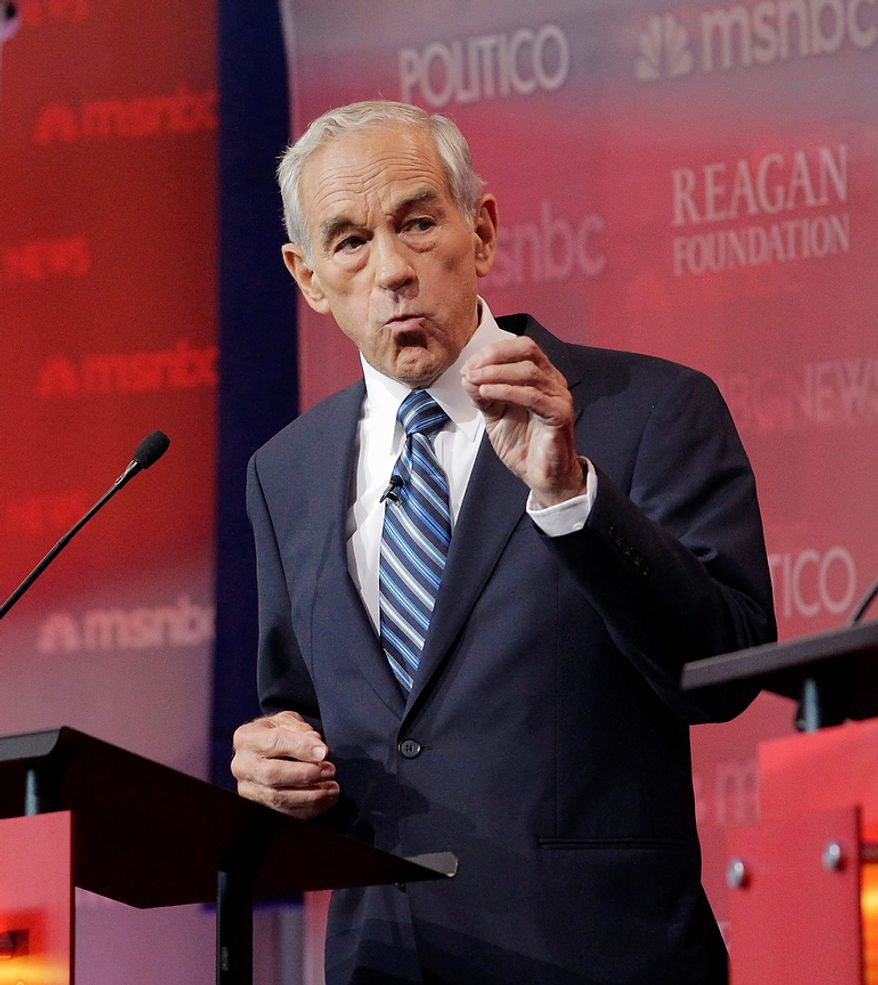 Republican presidential candidate Rep. Ron Paul, R-Texas, speaks during a Republican presidential candidate debate at the Reagan Library Wednesday, Sept. 7, 2011, in Simi Valley, Calif.  (AP Photo/Jae C. Hong)