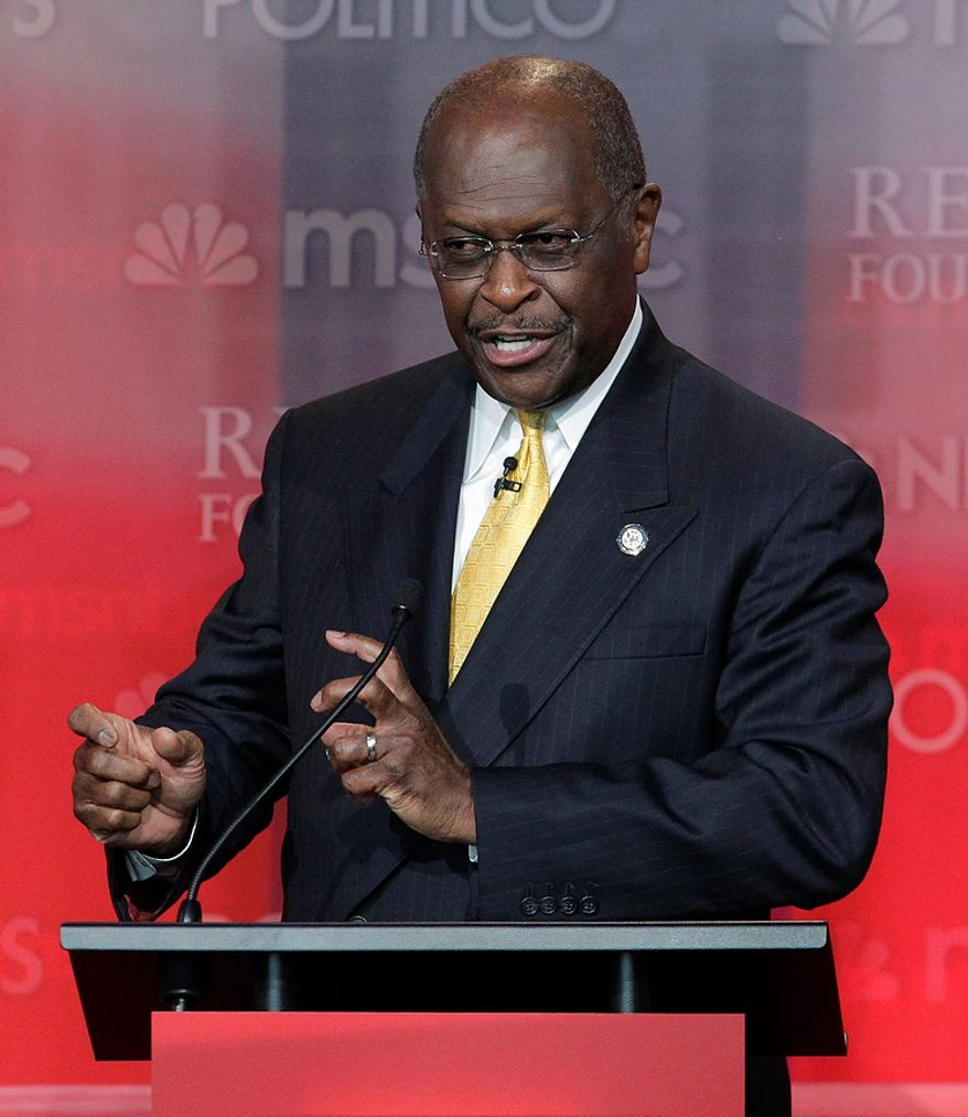 ** FILE ** Republican presidential candidate businessman Herman Cain speaks during a Republican presidential candidate debate at the Reagan Library Wednesday, Sept. 7, 2011, in Simi Valley, Calif.  (AP Photo/Jae C. Hong)