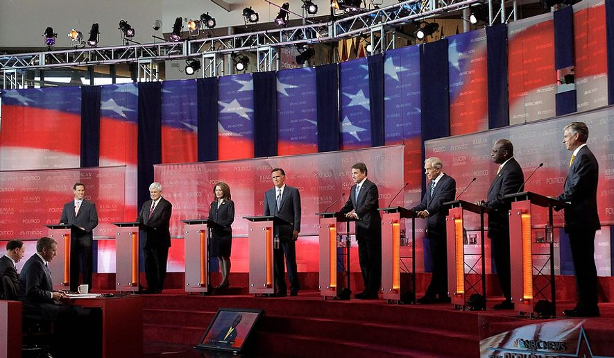 Republican presidential candidates, from left, former Pennsylvania Sen. Rick Santorum, former House Speaker Newt Gingrich, Rep. Michele Bachmann, R-Minn., former Massachusetts Gov. Mitt Romney, Texas Gov. Rick Perry, Rep. Ron Paul, R-Texas, businessman Herman Cain and former Utah Gov. Jon Huntsman stand at the podium to answer questions during a debate at the Reagan Library Wednesday, Sept. 7, 2011, in Simi Valley, Calif. (AP Photo/Jae C. Hong)