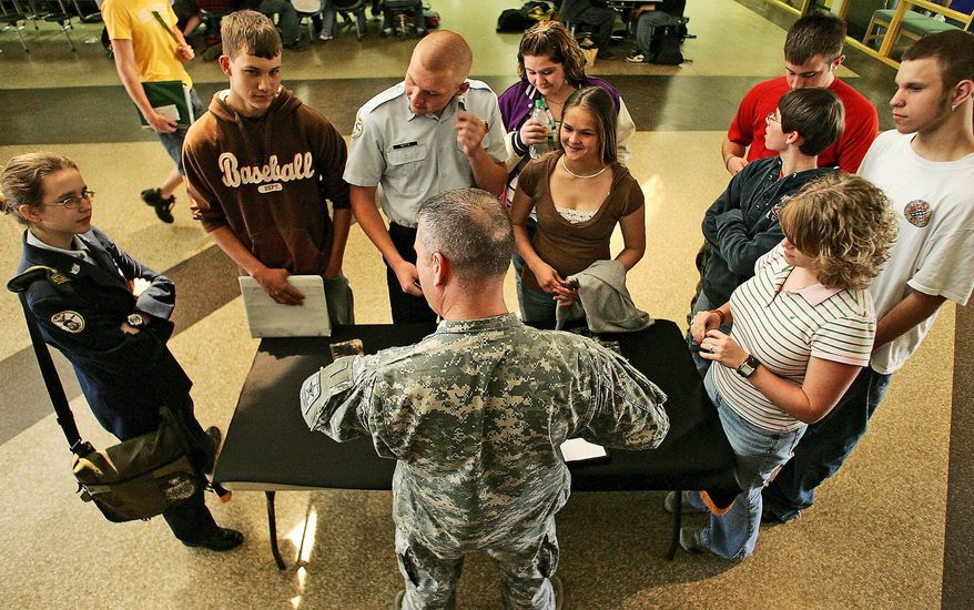 ASSOCIATED PRESS An Army sergeant talks to high school students in North Carolina about a career in the Army. While visits and calls to military recruiting offices increased after the terrorism attacks, the legend of a wave of enlistments rolling in after Sept. 11 isn't true.