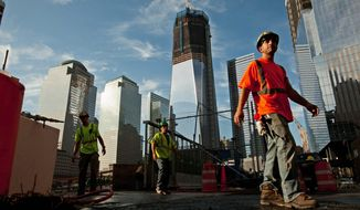 Construction of the One World Trade Center continues Sept. 1, 2011, at ground zero in New York. (Andrew Harnik/The Washington Times)