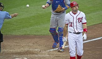 Nationals third baseman Ryan Zimmerman reacts to striking out in the seventh inning during Washington's 7-4 loss to the Los Angeles Dodgers. (Rod Lamkey Jr./The Washington Times)