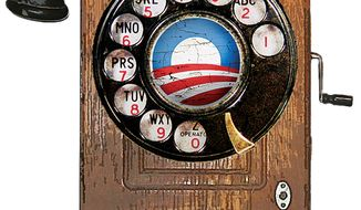 Illustration: Obama's iPhone by Greg Groesch for The Washington Times