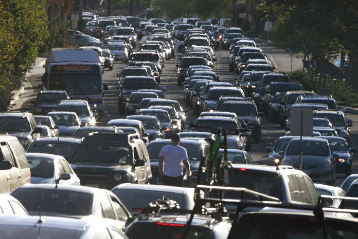Traffic on Crown Valley Parkway in Mission Viejo, Calif., is gridlocked Sept. 8, 2011, at rush hour after the massive power outage left most of south Orange County without electricity, shutting down all of the traffic signals. (Associated Press/Los Angeles Times)
