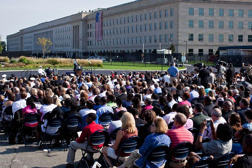Vice President Joseph R. Biden Jr. speaks at the Pentagon Memorial in Arlington on Sunday, Sept. 11, 2011, during the commemoration of the Sept. 11, 2001, attack on the Defense Department headquarters.  (T.J. Kirkpatrick/The Washington Times)