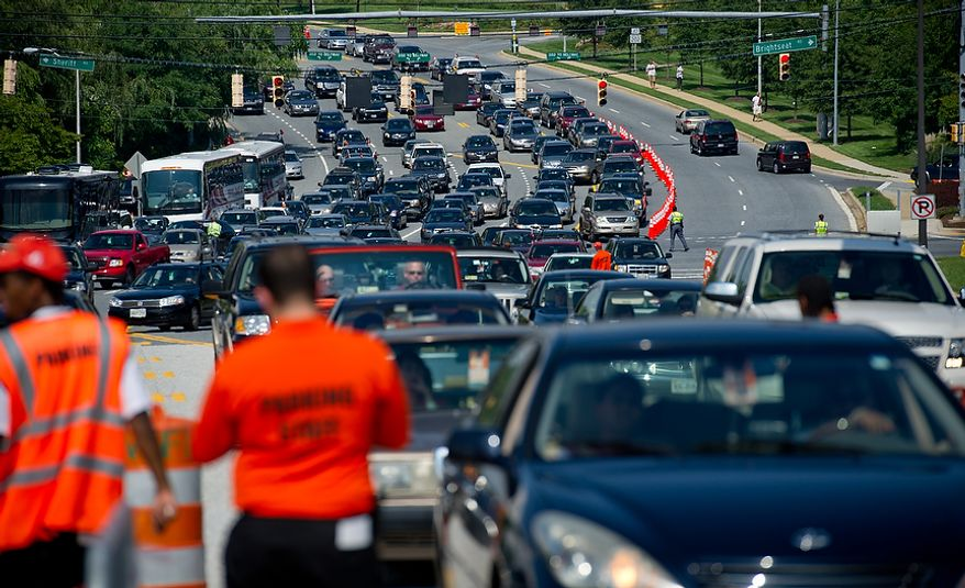 Traffic streams into the stadium lots before the Washington Redskins play the New York Giants at FedEx Field in Landover, Md. Sunday, September 11, 2011. (Rod Lamkey Jr. / The Washington Times)