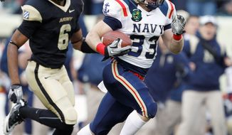 Navy running back John Howell has 126 yards on five carries this season with touchdown runs of 50 and 47 yards against Western Kentucky on Saturday. (Associated Press)