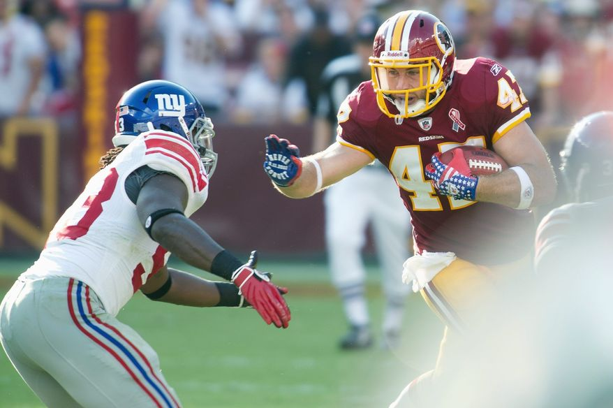 """Said Redskins tight end Chris Cooley of his performance Sunday against the Giants: """"I know I can play better, but I was pretty pleased with what I was able to do."""" (Rod Lamkey Jr./The Washington Times)"""