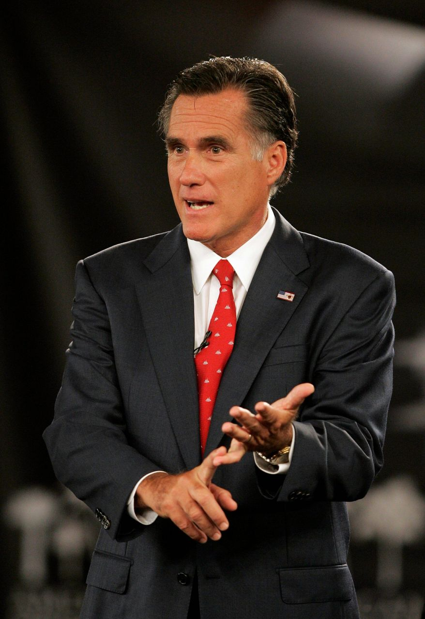 """""""I'm very concerned our president has pursued labor policies that are destructive to industry, to hiring and to job growth,"""" said former Massachusetts Gov. Mitt Romney, a Republican presidential candidate. (Associated Press)"""