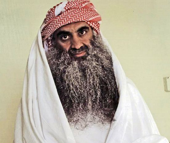This July 2009 photo from the Arabic-language website www.muslm.net shows a man it identifies as Khalid Shaikh Mohammed in detention at U.S. Naval Base Guantanamo Bay, Cuba. (www.muslm.net via Associated Press)