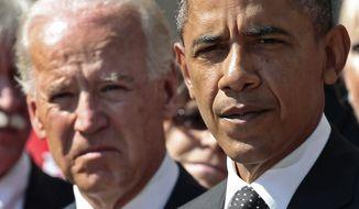 Vice President Joe Biden looks on as President Barack Obama makes a statement on his proposed American Jobs Act legislation, Monday, Sept., 12, 2011, in the Rose Garden of the White House in Washington. (AP Photo/Pablo Martinez Monsivais)