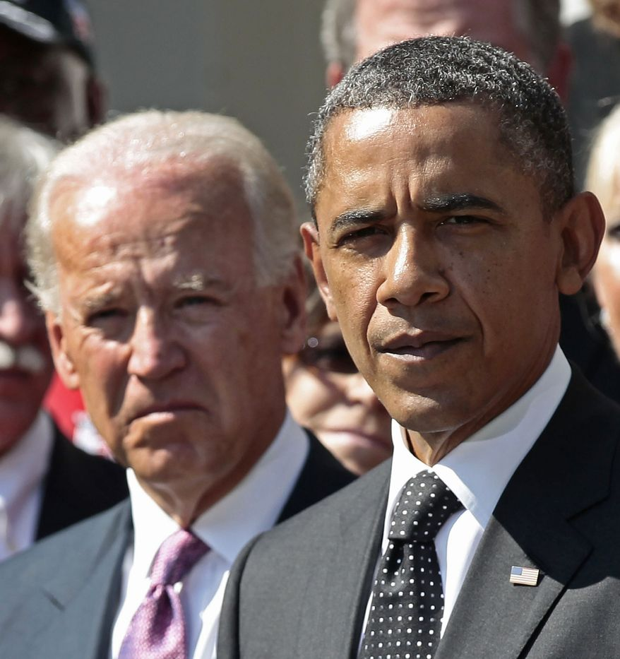 Vice President Joe Biden looks on as President Barack Obama makes a statement on his proposed American Jobs Act legislation, Monday, Sept., 12, 2011, in the Rose Garden of the White House in Washington. (AP Photo/Pablo Martinez Monsivais)