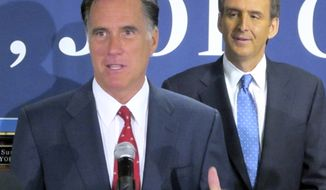 ** FILE ** Former Massachusetts Gov. Mitt Romney (left), a candidate for the Republican presidential nomination, thanks former Minnesota Gov. Tim Pawlenty, formerly one of Mr. Romney's rivals in the White House race, for his endorsement during a news conference in North Charleston, S.C., on Monday, Sept. 12, 2011. (AP Photo/Bruce Smith)