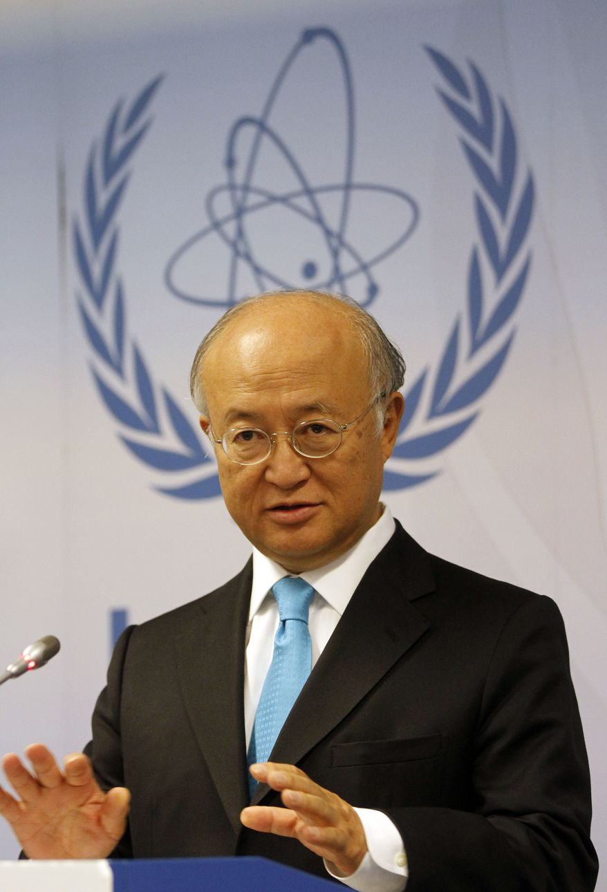 Yukiya Amano, director general of the International Atomic Energy Agency, speaks during a news conference after the first meeting of the IAEA's board of governors in Vienna, Austria, on Monday, Sept. 12, 2011. (AP Photo/Ronald Zak)
