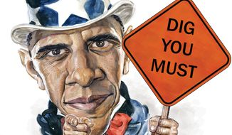 Illustration: Dig you must by Alexander Hunter for The Washington Times