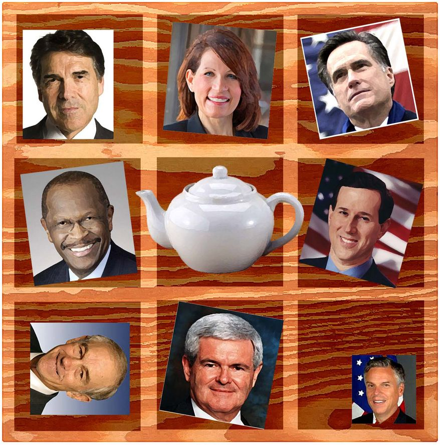 Illustration: Tea Party and candidates by Alexander Hunter for The Washington Times