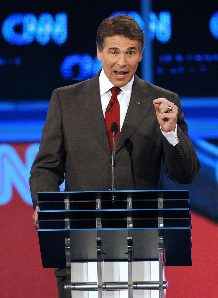 Texas Gov. Rick Perry speaks during a Republican debate on Sept. 13, 2011, in Tampa, Fla. (Associated Press)