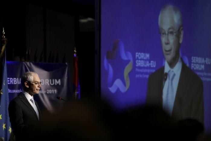EU President Herman Van Rompuy speaks during a Serbia-EU Forum in Belgrade, Serbia, on Sept. 9, 2011. (Associated Press)
