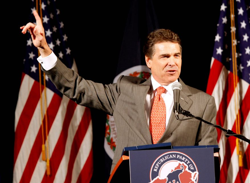 """""""You can't live free when the federal government takes over one-sixth of the economy,"""" Texas Gov. Rick Perry told Republicans in Richmond on Wednesday. (Associated Press)"""