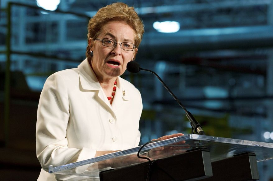 Reps. Marcy Kaptur (seen here) and Dennis J. Kucinich, Ohio Democrats, have been cast together into a newly redrawn district across northern Ohio, stretching alongside Lake Erie from Cleveland to Toledo. Unless one decides to retire, they will have to fight it out in a primary next year to remain in Congress. (Associated Press)