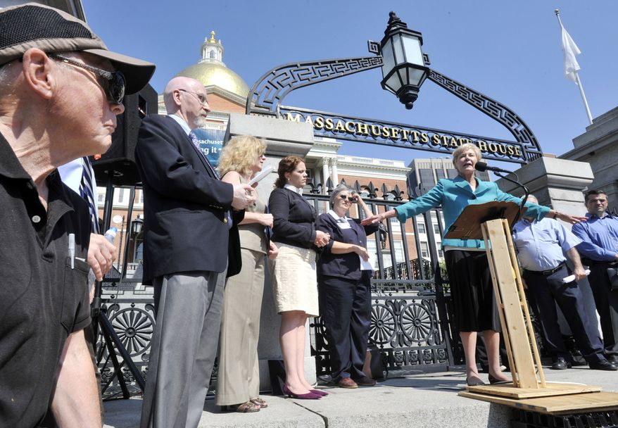 Former state Sen. Susan Tucker, Democrat, speaks against casino gaming at a rally outside the Statehouse in Boston, Tuesday, Sept. 13, 2011. House Democrats caucused behind closed doors to discuss legislation that would license three resort style casinos and a slot machine parlor. (AP Photo/Josh Reynolds)