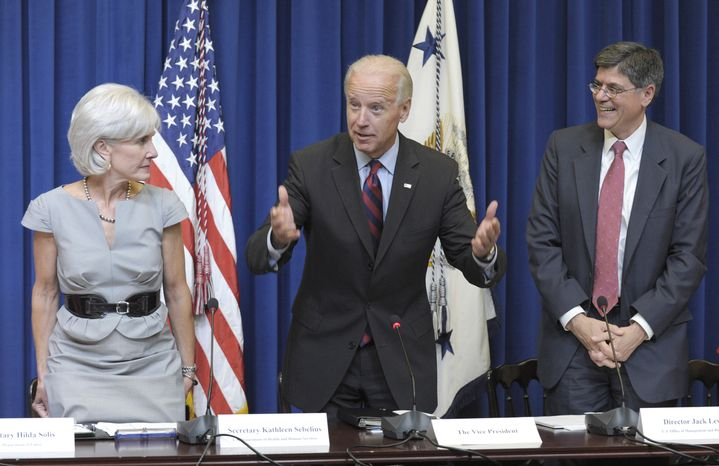 Vice President Joseph R. Biden Jr. (center), flanked by Health and Human Services Secretary Kathleen Sebelius (left) and Budget Director Jacob Lew, arrives at the White House for the start of a cabinet meeting on plans to cut government waste, fraud and abuse on Sept. 14, 2011. (Associated Press)