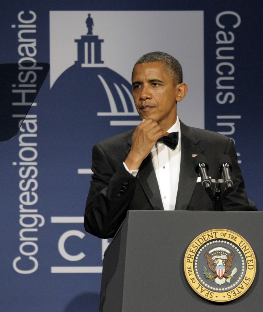 President Obama addresses the Congressional Hispanic Caucus Institute's 34th Annual Awards Gala in Washington on Sept. 14, 2011. (Associated Press)