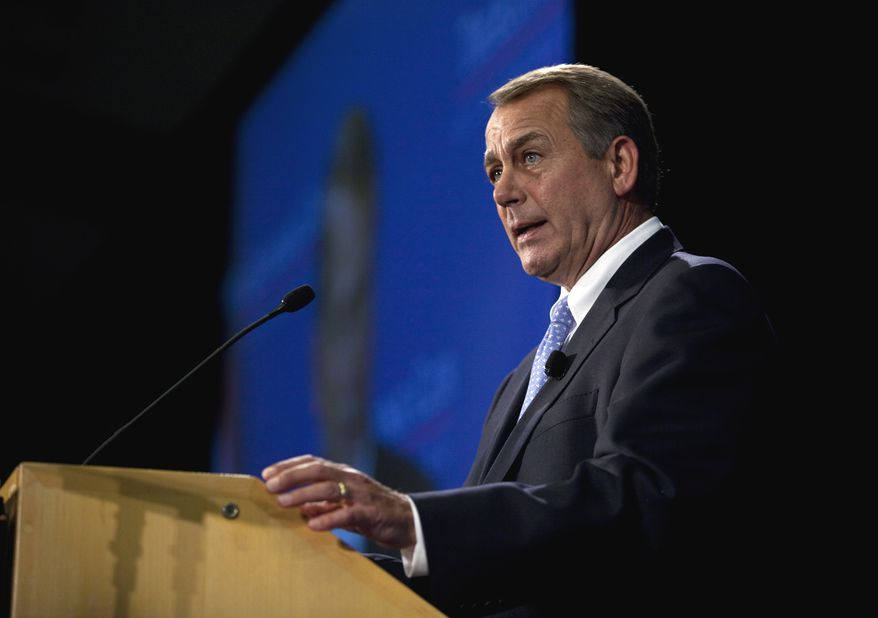 ** FILE ** House Speaker John Boehner, Ohio Republican, talks about the economy during an address in D.C. at the Economic Club of Washington on Sept. 15, 2011. (Associated Press)