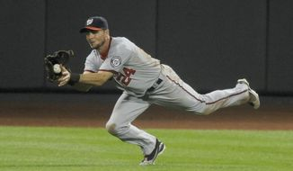 Washington Nationals' Rick Ankiel makes a game-ending catch on a drive by the New York Mets' Jose Reyes in the bottom of the ninth inning at Citi Field on Wednesday, Sept. 14, 2011. The Nationals won 2-0. (AP Photo/Henny Ray Abrams)