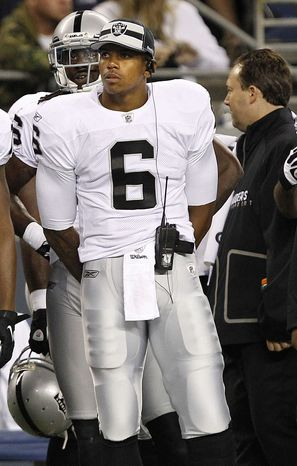 Oakland Raiders quarterback Terrelle Pryor met with commissioner Roger Goodell to appeal his five-game suspension on Thursday. (AP Photo/Elaine Thompson)