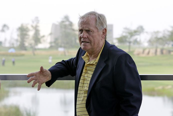 Jack Nicklaus speaks during an interview with The Associated Press at the Jack Nicklaus Golf Club in Incheon, South Korea, Friday, Sept. 16, 2011. Nicklaus said Tiger Woods can still beat his record total of 18 major championships provided he gets control of his mental game. (AP Photo/ Lee Jin-man)