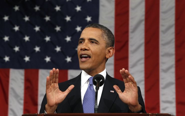 ** FILE ** President Obama delivers a speech to a joint session of Congress at the Capitol in Washington on Thursday, Sept. 8, 2011. (AP Photo/Kevin Lamarque, Pool)