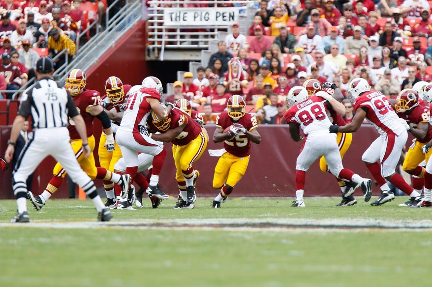Redskins running back Tim Hightower was excited to square off against Arizona, the team that traded him this offseason. Rookie Roy Helu provided clutch relief with 74 yards on 10 carries. (T.J. Kirkpatrick/The Washington Times)