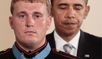 President Obama awards the Medal of Honor to former Marine Dakota Meyer on Sept. 15, 2011. (Associated Press) ** FILE **