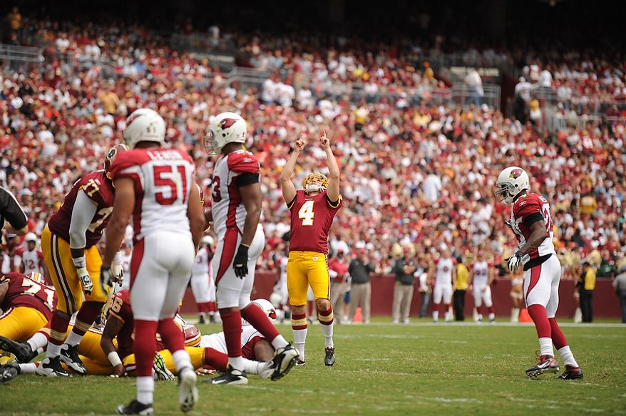 Redskins' place kicker Graham Gano (4) celebrates a second-quarter field goal against the Arizona Cardinals at FedEx Field in Landover, Md., on Sunday, September 18, 2011. (Andrew Harnik/The Washington Times)