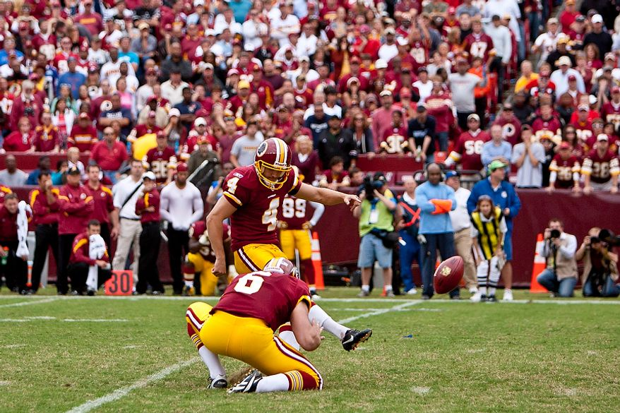Washington Redskins kicker Graham Gano (4) sends in the winning 34-yard field goal in the fourth quarter as the Redskins beat the Arizona Cardinals 22-21 at FedEx Field in Landover, Md., on Sunday, Sept. 18, 2011. (T.J. Kirkpatrick/The Washington Times)