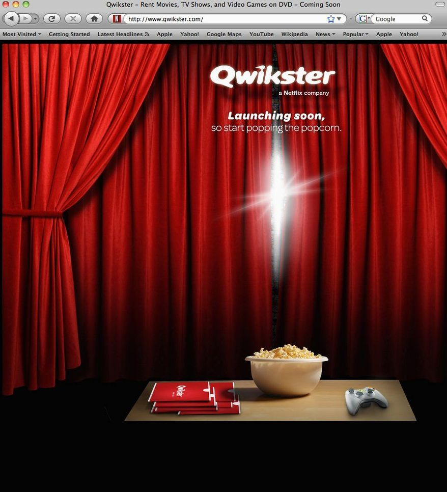 This screen shot shows Qwikster.com, a new website service available soon from Netflix. The streaming video option will be separate from the company's DVD-by-mail service. (NetFlix Inc./Associated Press)