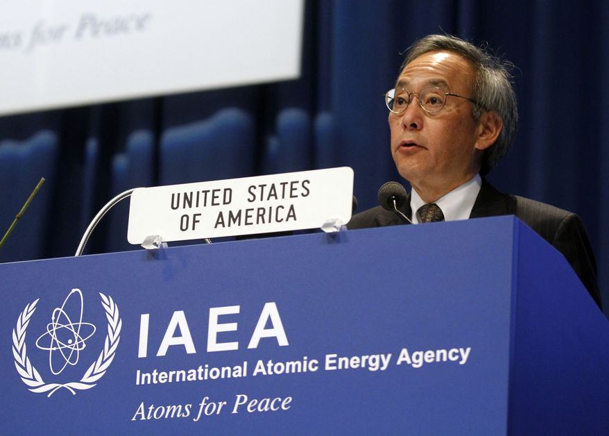 U.S. Energy Secretary Steven Chu speaks at the general conference of the International Atomic Energy Agency in Vienna, Austria, on Monday, Sept. 19, 2011. (AP Photo/Ronald Zak)