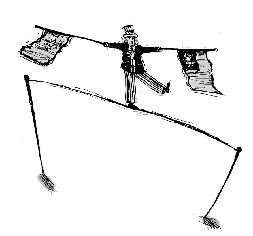 Illustration: Taiwan balance by John Camejo for The Washington Times