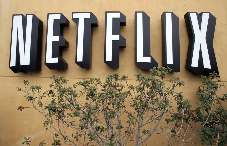 The Netflix logo is displayed at the company's headquarters in Los Gatos, Calif., in April 2011. (AP Photo)