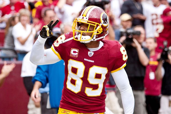 Washington Redskins wide reciever Santana Moss has 73 receptions, 1,055 yards and six touchdowns against the Dallas Cowboys in his career. (T.J. Kirkpatrick/ The Washington Times)