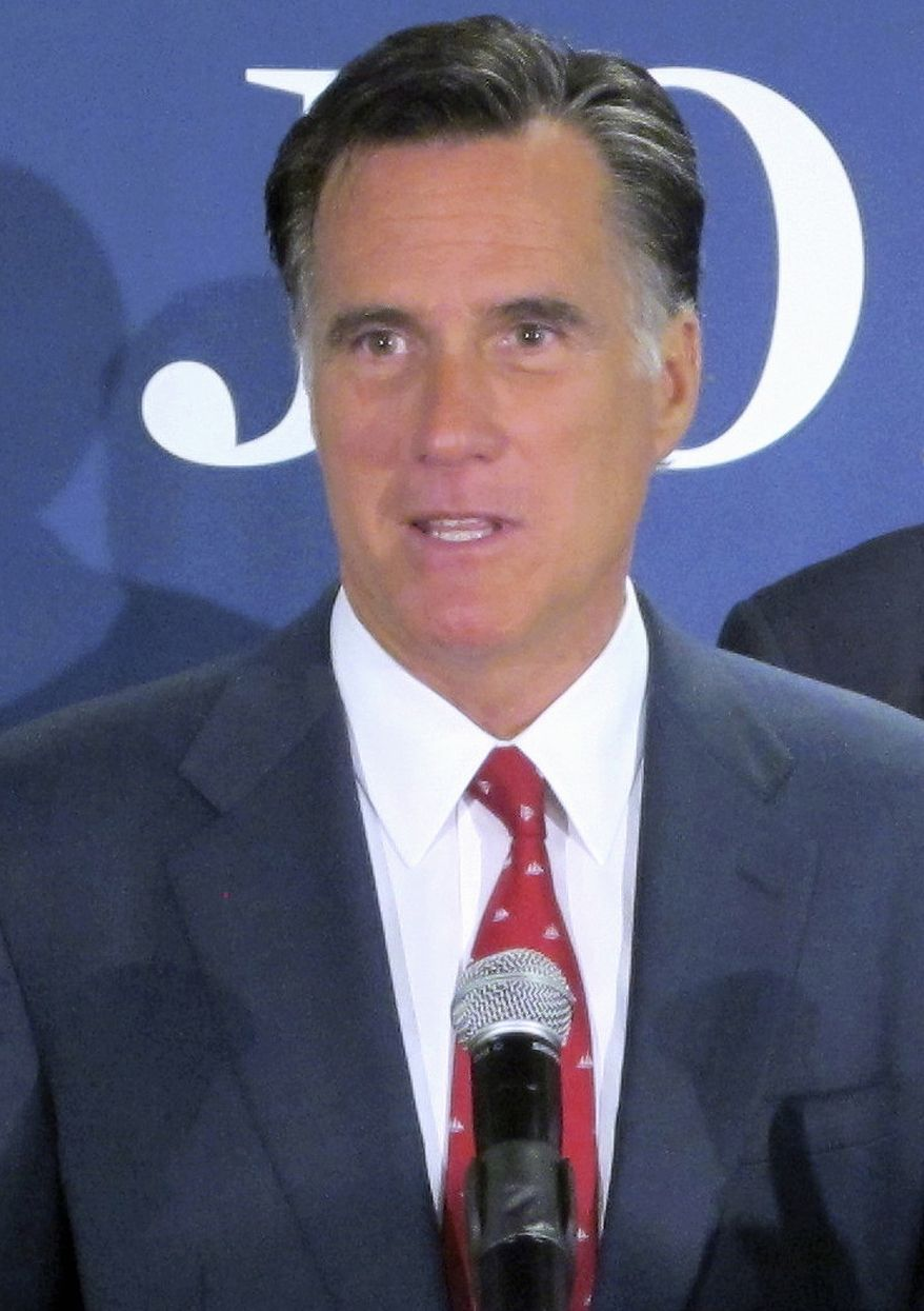** FILE ** In this Sept. 12, 2011, file photo, Republican presidential candidate, former Massachusetts Gov. Mitt Romney speaks in North Charleston, S.C. (AP Photo/Bruce Smith, File)