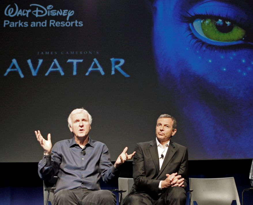 """""""Avatar"""" director James Cameron (left) and Walt Disney Co. President and CEO Robert Iger announce an """"Avatar""""-themed land for Disney parks. (Associated Press)"""
