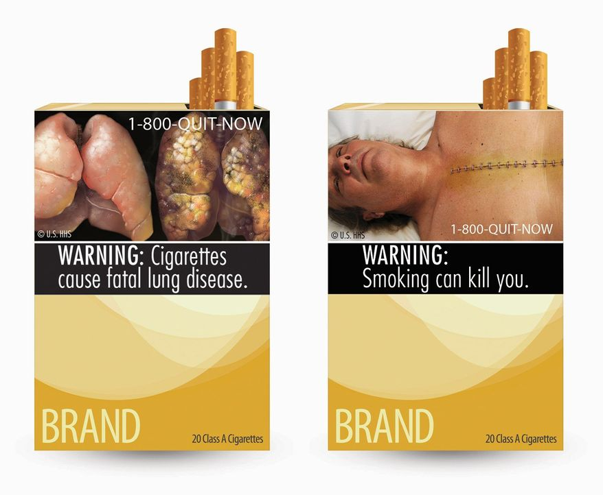 Images provided by the Food and Drug Administration show two of nine new warning labels cigarette makers will have to use on packages by September 2012 if the FDA rules are not overturned. (Associated Press)