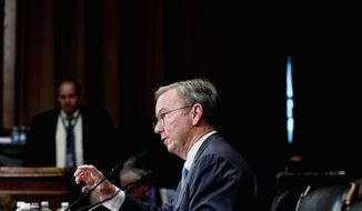 Google Executive Chairman Eric Schmidt testifies before the Senate's antitrust subcommittee Wednesday. Mr. Schmidt claimed Google is not as dominant in the marketplace as it seems. (T.J. Kirkpatrick/The Washington Times)